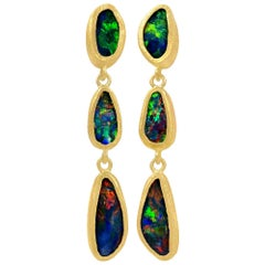 Devta Doolan Opal Doublet Rainbow Fire Triple Drop One-of-a-Kind Earrings