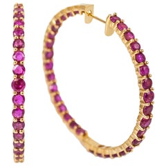 J. Birnbach 18 Karat Yellow Gold Graduating Inside Outside Ruby Hoop Earrings