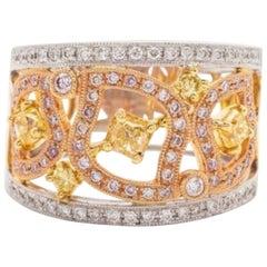 Yellow Diamond and Diamond Ring