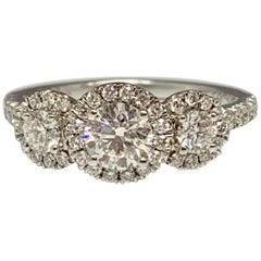 14 Karat White Gold 1.13 Carat Total Weight 3-Stone Diamond Engagement Ring