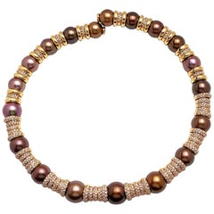 G. Verdi 18KT Rose Gold, 8.82ct. Diamond & SouthSea Brown Pearl Collar Necklace