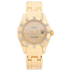 Rolex Lady Datejust Pearlmaster 18 Karat Yellow Gold Ladies 69318