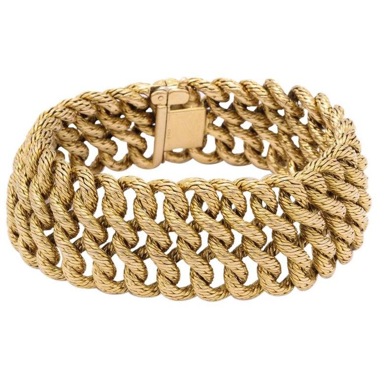 Boucheron 1960s Textured Gold Bracelet For Sale