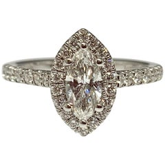 14 Karat White Gold 0.88 Carat Total Weight Marquise Diamond Engagement Ring