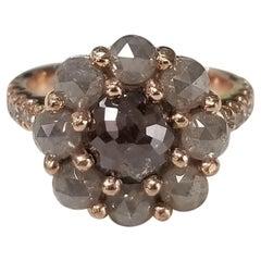 Rose Cut Natural Diamond Cluster Ring Set in 14 Karat Rose Gold