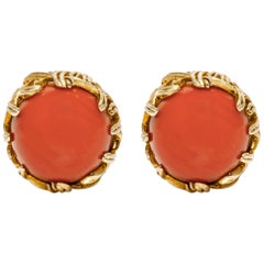 Tiffany & Co. 18 Karat Yellow Gold Red Coral Earrings