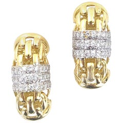 Diamond 18 Karat Yellow Gold Clip Earrings Signed Ivan