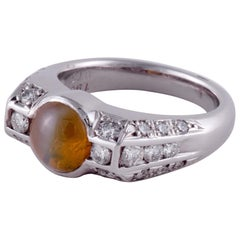 Chrysoberyl and Diamond Ring in Platinum