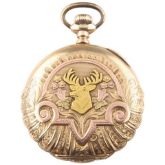 Elgin 14 Karat Multi-Color Gold 17-Jewel Antique Pocket Watch Full Hunter