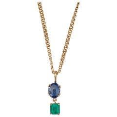 6.20 Carat Vintage Sapphire Emerald Drop Necklace 18 Karat