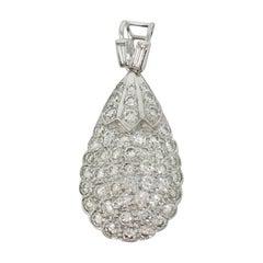 2.50 Carat White Round Brilliant Diamond Pendant In 18K White Gold.