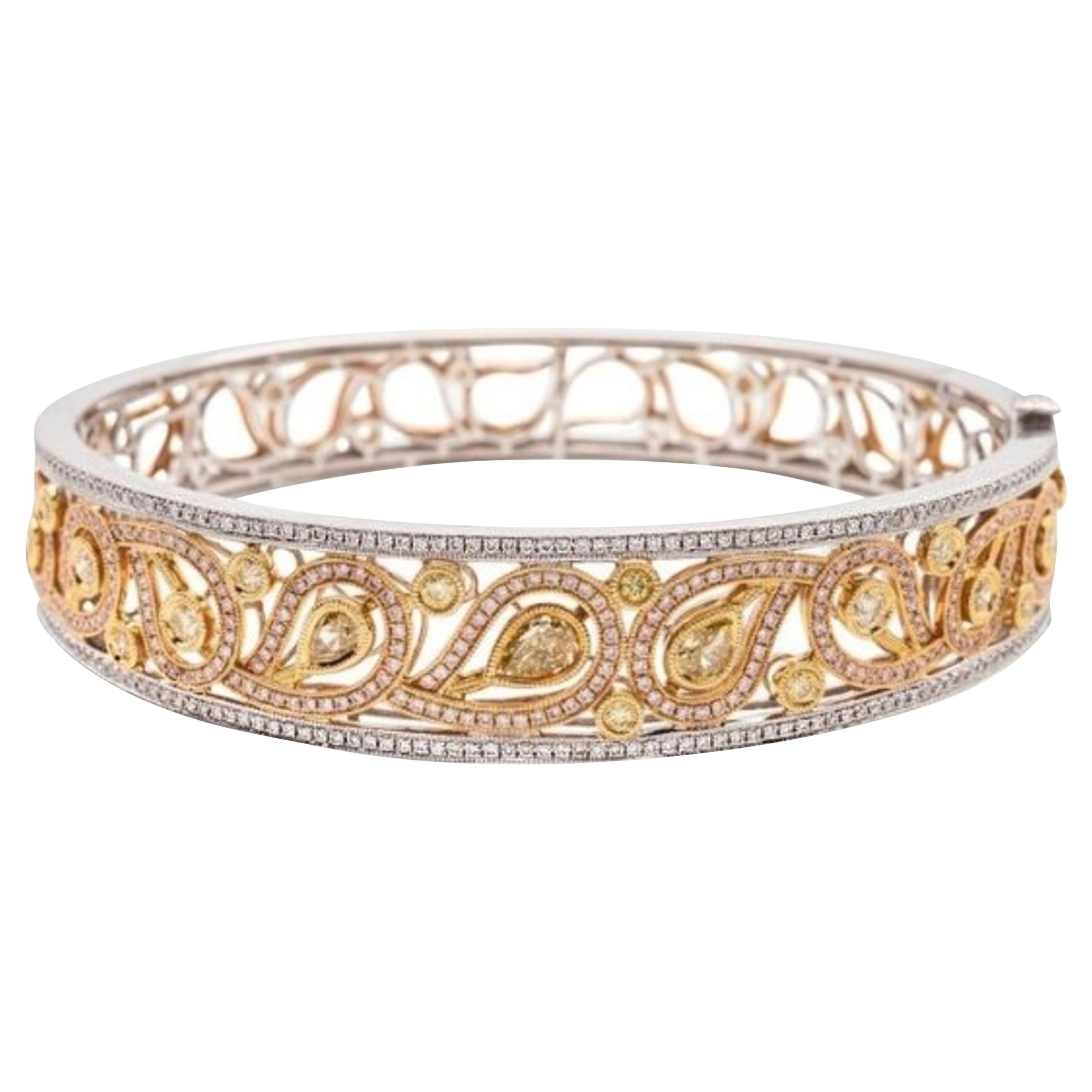 Fine Yellow Diamond Bangle Bracelet, 18 Karat Gold