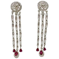 6.03 Carat White Diamond And 3.40 Carat Red Ruby Chandelier Earrings In 18K Gold