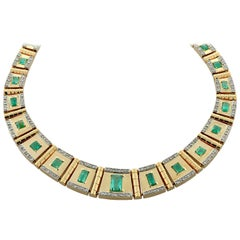 Estate Emerald Diamond Gold Necklace