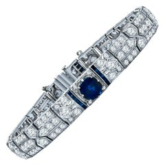 Art Deco Platinum 12.64 Carat GIA Certified Diamond and Sapphire Tennis Bracelet