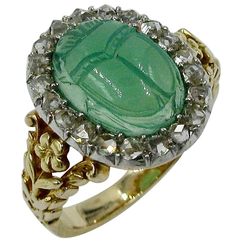 Green chrysoprase scarab and rose cut Diamonds set in a Gold ring