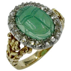 Art Deco Chrysoprase Scarab Rose Cut Diamond Halo Ring Egyptian Revival