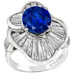 3.27 Carat Sapphire Diamond Platinum Ballerina Ring