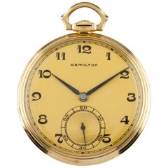 Hamilton Open Face 14 Karat Gold Antique Pocket Watch Gr 923 10S 23 Jewel