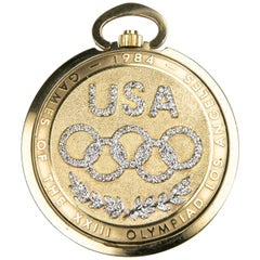 Longines 1984 Limited Edition 14 Karat Gold Olympic Pocket Watch