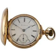 Rockford Full Hunter 14 Karat Yellow Gold Filled Pocket Watch 15 Jewels Gr: 85