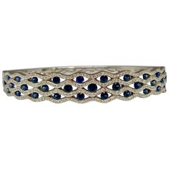 14 Karat White Gold 2.34 Carat Total Weight Diamond and Sapphire Bracelet