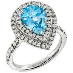 Tiffany & Co. Soleste Aquamarine Diamond Platinum Ring