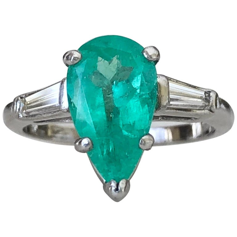 Emerald Diamond Engagement Platinum Ring Three-Stone Pear Shape For Sale