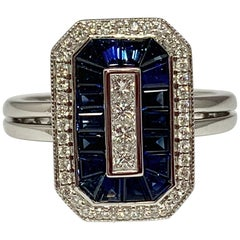 14 Karat White Gold 1.36 Carat Blue Sapphire and Diamond Cocktail Ring