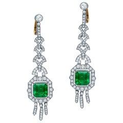 Estate Antique Art Deco Platinum 7.57 Carat Diamond and Emerald Dangle Earrings