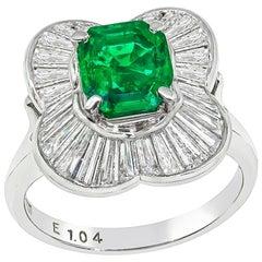 1.04 Carat Emerald Diamond Ballerina Ring