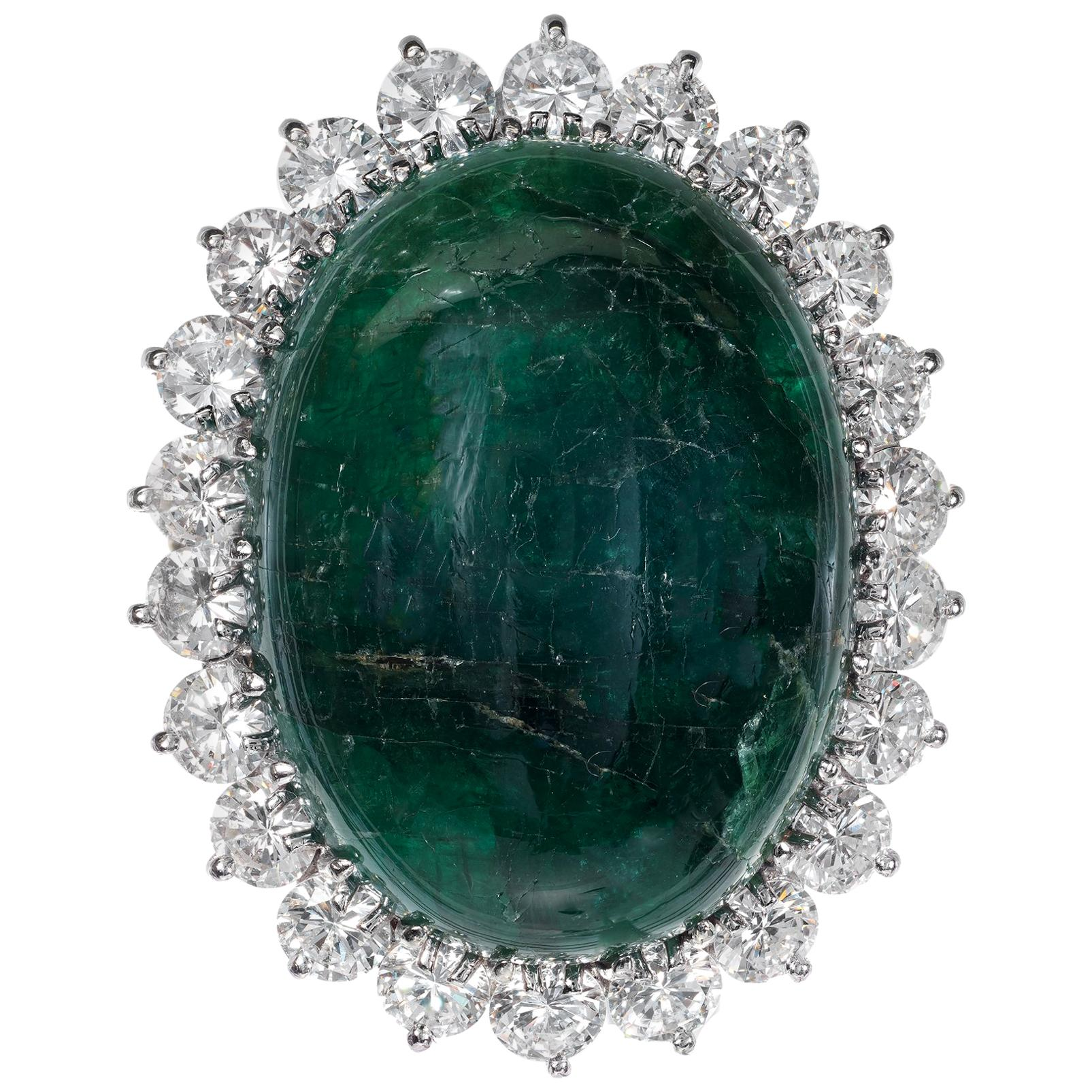 GIA Certified 41.78 Carat Cabochon Emerald Diamond Gold Cocktail Ring