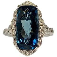 14 Karat White Gold 6.90 Carat Blue Topaz and Diamond Cocktail Ring