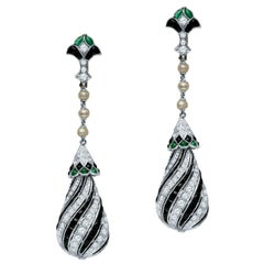 Antique Art Deco 10.00 Carat Diamond, Emerald, Onyx and Platinum Dangle Earrings