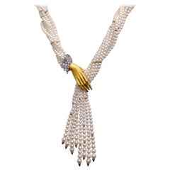 Carrera y Carrera 18 Karat Gold Pearl Twist Necklace with .62 Carat Diamond Hand