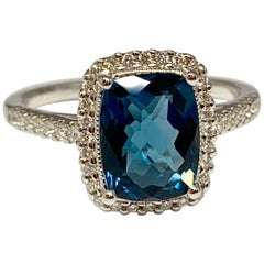 14 Karat White Gold 2.42 Carat Blue Topaz and Diamond Cocktail Ring
