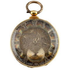 Thomas Cooper London Key Operated 18 Karat Yellow Gold Pocket Watch 13 Jewels