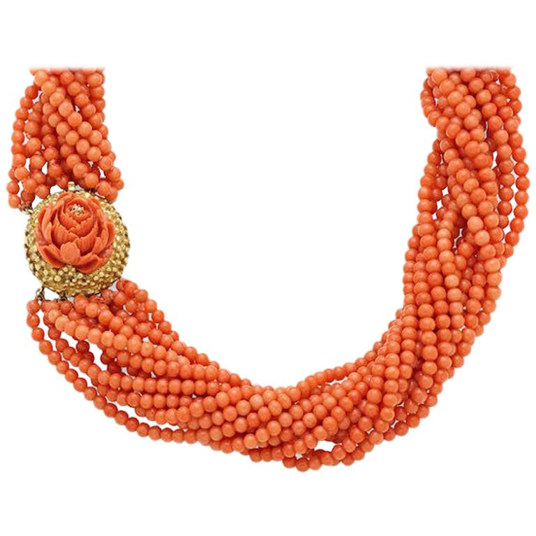 Coral Multi-Strand Bead Rosette Gold Necklace For Sale