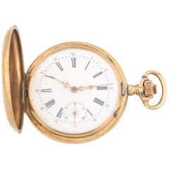 Remontoir 14 Karat Solid Gold 15-Jewel Antique Pocket Watch Full Hunter