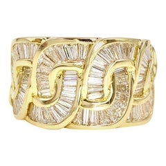 Charles Krypell 18 Karat Wide Baguette Diamond Ring