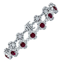 Estate Crypell Designer Platinum 9.05 CTW Diamond & Ruby Tennis Bracelet 43 Gram