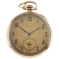 Waltham Colonial Series Open Face 14 Karat Gold Pocket Watch 14s 19 Jewel