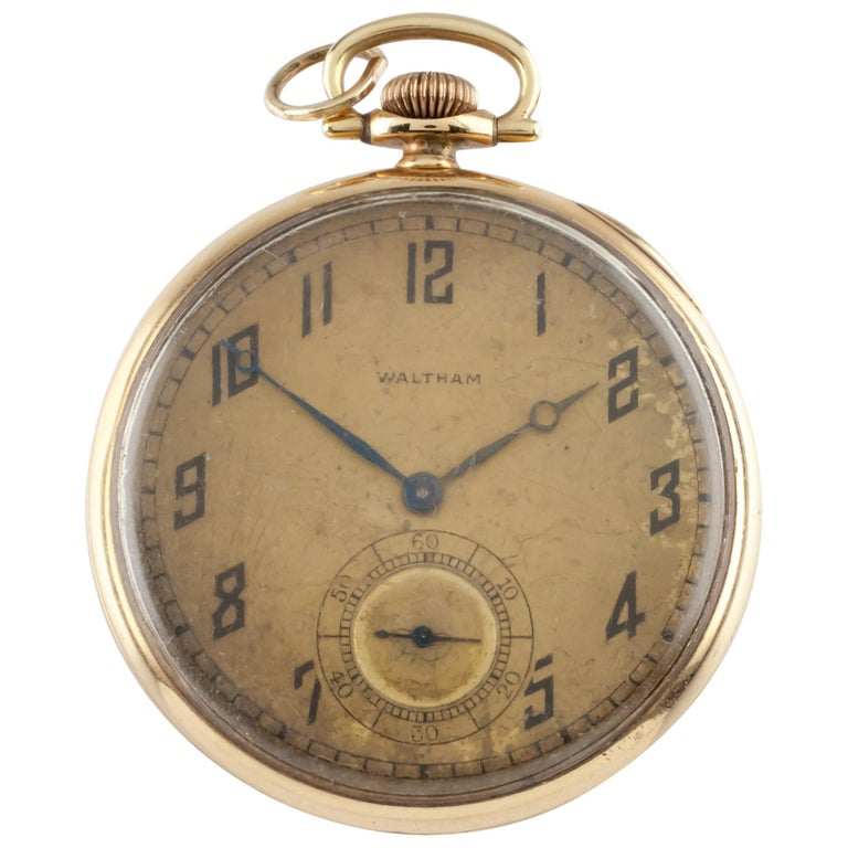 Waltham Colonial Series Open Face 14 Karat Gold Pocket Watch 14s 19 Jewel For Sale