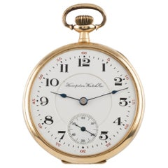 Hampden Open Face 14 Karat Gold Antique Pocket Watch Grade 314 12S 21-Jewel