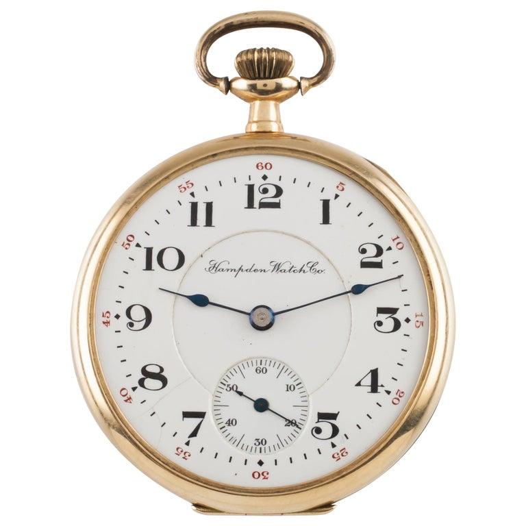 Hampden Open Face 14 Karat Gold Antique Pocket Watch Grade 314 12S 21-Jewel