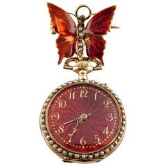 JG Lady Racine 14 Karat Yellow Gold Pocket Watch with Enamel Guilloche Dial