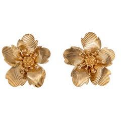 Vintage Cartier Flower Motif Earrings