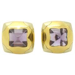 Bulgari Pyramid Amethyst Earrings Two-Tone 18 Karat Gold