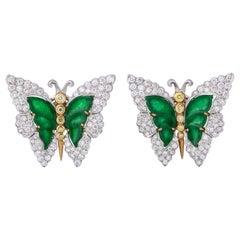Buccellati Jade Diamond Butterfly Earclips