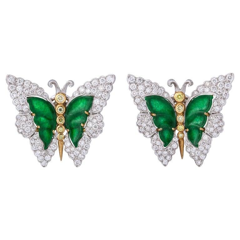 Buccellati Jade Diamond Butterfly Earclips For Sale